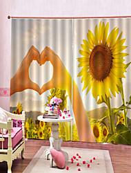 Недорогие -современная любовь подсолнечника украшения дома водонепроницаемые и плесени из чистого полиэстера занавески для спальни спальня гостиная и звукоизоляционные занавес