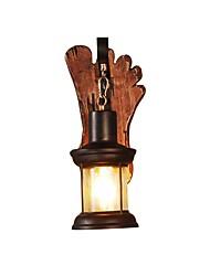 Недорогие -ретро-стиль деревенский светлый деревянный цоколь металлическая конструкция винтаж настенный светильник промышленный светильник стеклянный плафон декор декор фонарь освещение фермы бра металлические