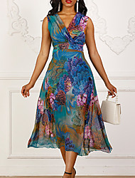 Недорогие -Жен. Секси Тонкие Шифон С летящей юбкой Платье - Цветочный принт, Плиссировка V-образный вырез Средней длины / Праздники / Пляж