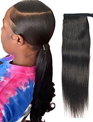 Недорогие -плетение волос Конскиехвостики Женский Натуральные волосы Волосы Наращивание волос Прямой 16 дюймы На каждый день / Черный