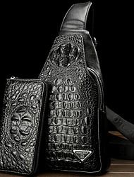 Недорогие -Муж. Молнии Кожа Слинг сумки на ремне Сплошной цвет Черный