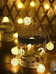 Недорогие -3.5 м ротанга мяч строки огни 20 светодиодов теплый белый / холодный белый праздник рождественская свадьба занавес украшения 5 В 1 компл.