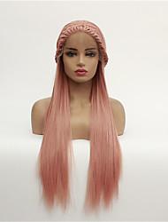 levne -Syntetické čipky předních paruky Volný Styl Volná část Se síťovanou přední částí Paruka Růžová Pink + červená Umělé vlasy 8-26 inch Dámské syntetický Růžová Paruka Poloviční délka 130% Lidské vlasy