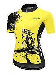 Недорогие -21Grams Шестерня Жен. С короткими рукавами Велокофты - Черный Желтый Велоспорт Джерси Верхняя часть Дышащий Влагоотводящие Быстровысыхающий Виды спорта Терилен Горные велосипеды Одежда
