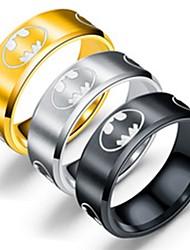 Недорогие -Муж. Жен. Кольцо Хвост 1шт Золотой Черный Серебряный Титановая сталь Круглый Классический Мода Для вечеринок Повседневные Бижутерия Летучая мышь Cool