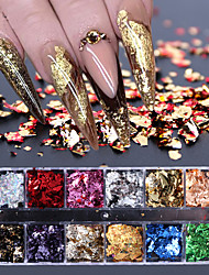 Недорогие -12 сетка блестки блестка блестка алюминий нерегулярные хлопья золото серебро пигмент украшения искусства ногтя зеркало блеск фольги бумаги