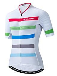 hesapli -JPOJPO Kadın's Kısa Kollu Bisiklet Forması Beyaz Bisiklet Tracksuit Forma Üstler Nefes Alabilir Spor Dalları Polyester Elastane Terylene Dağ Bisikletçiliği Yol Bisikletçiliği Giyim / Mikro-Esnek