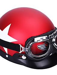 Недорогие -унисекс мотоциклетный защитный шлем с защитными очками съемный козырек белый узор с изображением звезды