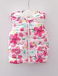 Недорогие -малыш Девочки Классический Цветочный принт Пэчворк Обычная На пуховой / хлопковой подкладке Красный