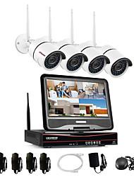 Недорогие -все-в-1 система беспроводных камер видеонаблюдения с 10-дюймовым ЖК-монитором 4-канальный 1080p домашний Wi-Fi видеорегистратор видеорегистратор комплект ж / 4шт 2,0-мегапиксельной камеры