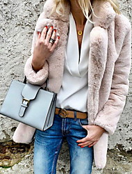 Недорогие -Жен. Повседневные Классический Наступила зима Большие размеры Обычная Искусственное меховое пальто, Однотонный Рубашечный воротник Длинный рукав Искусственный мех Светло-серый / Белый / Розовый