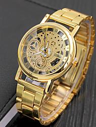 Недорогие -Муж. Нарядные часы Кварцевый Формальный Нержавеющая сталь Серебристый металл / Золотистый С гравировкой Повседневные часы Аналоговый Мода - Серебряный Золотистый Один год Срок службы батареи