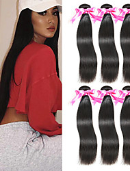 Недорогие -6 Связок Перуанские волосы Прямой Необработанные натуральные волосы 100% Remy Hair Weave Bundles Человека ткет Волосы Пучок волос Накладки из натуральных волос 8-28 дюймовый Естественный цвет