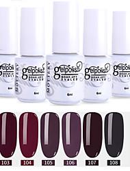 economico -6 pz colore 103-108 xyp soak-off uv / led smalto gel per unghie colore solido lacca per unghie set