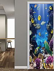 Недорогие -наклейки подводные рыбьей двери декоративные водонепроницаемые наклейки на двери