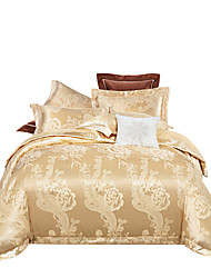 Недорогие -верблюд блестящий принцесса 250 т роскошный отель премиум класса жаккард из чистого хлопка сантан шелк из четырех частей постельного белья