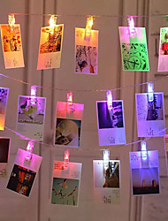 Недорогие -3 м держатели для фотографий клип строки огни 20 светодиодов холодный белый / многоцветный настенный рождественский дом декоративные 5 v 1 комплект