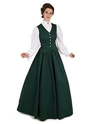 Недорогие -Cerridwen Богиня Викторианский стиль Костюм для вечеринки Жен. Костюм Зеленый Винтаж Косплей На каждый день Длинный рукав В пол С пышной юбкой Большие размеры