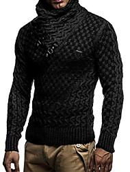 Недорогие -Муж. Однотонный Длинный рукав Пуловер, Хомут Зима Черный / Темно-серый / Серый US38 / UK38 / EU46 / US40 / UK40 / EU48 / US42 / UK42 / EU50