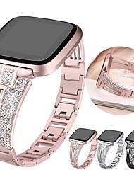 Недорогие -Ремешок для часов для Fitbit Versa / Fitbit Versa Lite Fitbit Спортивный ремешок / Классическая застежка / Дизайн украшения Нержавеющая сталь Повязка на запястье