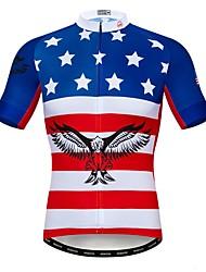 Недорогие -WEIMOSTAR Муж. С короткими рукавами Велокофты Красный + синий Американский / США Eagle Флаги Велоспорт Джерси Верхняя часть Дышащий Влагоотводящие Быстровысыхающий Виды спорта / Эластан / Полиэстер