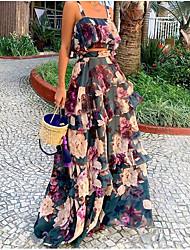 Недорогие -Жен. Уличный стиль Элегантный стиль С летящей юбкой Платье - Цветочный принт, Пэчворк Средней длины