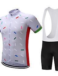 Недорогие -FUALRNY® Муж. С короткими рукавами Велокофты и велошорты-комбинезоны Белый Черный Велоспорт Наборы одежды Дышащий Влагоотводящие Быстровысыхающий Виды спорта Графика / Эластичная / Горные велосипеды