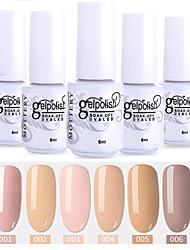 economico -6 pezzi colore 1-6 xyp soak-off uv / led smalto per unghie colore solido lacca per unghie set