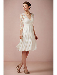 Недорогие -А-силуэт V-образный вырез До колена Кружева Свадебные платья Made-to-Measure с от LAN TING Express