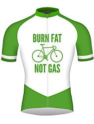 Недорогие -21Grams Муж. С короткими рукавами Велокофты Травянисто-зелёный Велоспорт Джерси Верхняя часть Дышащий Быстровысыхающий Со светоотражающими полосками Виды спорта 100% полиэстер / Слабоэластичная