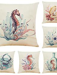 Недорогие -набор из 6 подводного мира льняные квадратные декоративные наволочки диванные чехлы 18х18