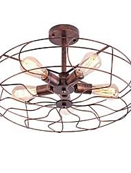 Недорогие -5 светильников промышленные люстры полу скрытого монтажа круглые подвесные светильники клетки дизайн фонарь подвесной светильник окружающий свет окрашенные отделки металла