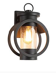 Недорогие -Настенный светильник антикварный настенный фонарь водонепроницаемый черный железный американский открытый бра для садовых ворот наружной стены стеклянной тени