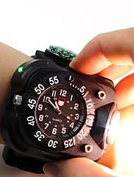 Недорогие -3 in1 супер яркие светодиодные часы фонарик водонепроницаемый факел огни компас спорт на открытом воздухе аккумуляторная мужские наручные часы