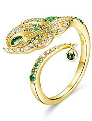 Недорогие -перо павлина королева открытый палец кольца роскошные стерлингового серебра 925 пробы золото цвет свадебное заявление