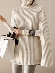 Недорогие -Жен. Однотонный Длинный рукав Пуловер, Хомут Черный / Белый / Серый Один размер
