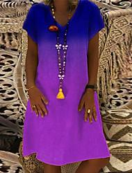 Недорогие -Жен. Винтаж Классический Свободный силуэт Прямое Платье - Контрастных цветов V-образный вырез До колена
