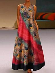 Недорогие -Жен. Большие размеры Классический Прямое Платье - Геометрический принт, С принтом V-образный вырез Макси