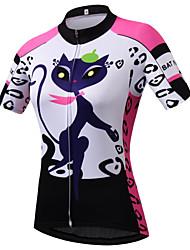 Недорогие -21Grams Кот Мультипликация Жен. С короткими рукавами Велокофты - Розовый Велоспорт Джерси Верхняя часть Дышащий Влагоотводящие Быстровысыхающий Виды спорта Терилен Горные велосипеды Одежда