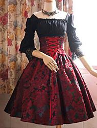 Недорогие -Жен. Большие размеры С летящей юбкой Платье - Узоры тай-дай Вырез лодочкой До колена