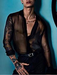 Недорогие -Муж. Тюль / Прозрачный Рубашка Секси Однотонный Черный / Для вечеринок / Длинный рукав