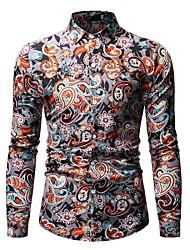 Недорогие -Муж. С принтом Рубашка Винтаж / Уличный стиль Цветочный принт / Геометрический принт / Графика Синий