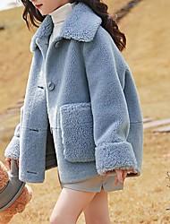 Недорогие -Дети Девочки Классический Однотонный Куртка / пальто Светло-синий