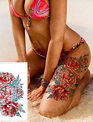 Недорогие -3 шт. / Лот водонепроницаемый татуировки наклейки бикини пион татуировки&усилитель; боди-арт цветок роза татуировка поддельная передача воды татуировка временная татуировка нога рука
