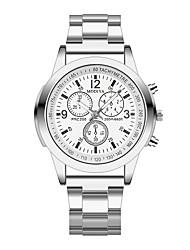 Недорогие -Муж. Нарядные часы Кварцевый Стильные Нержавеющая сталь Серебристый металл Повседневные часы Аналоговый Классика На каждый день - Черный Белый Один год Срок службы батареи