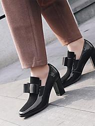 Недорогие -Жен. Обувь на каблуках На толстом каблуке Квадратный носок Бант Замша / Полиуретан Весна & осень Черный
