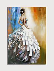 Недорогие -Hang-роспись маслом Ручная роспись - Люди Modern Без внутренней части рамки