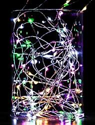 Недорогие -10 м гирлянды 100 светодиодов теплый белый белый синий водонепроницаемый декоративный медный провод серебряная линия а. А. С питанием от батареи 1 шт.