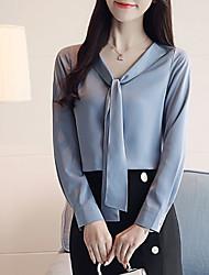 Недорогие -Жен. Рубашка Однотонный Синий