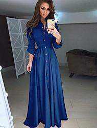 Недорогие -Жен. Элегантный стиль С летящей юбкой Платье - Однотонный, кнопка Рубашечный воротник Макси Пыльная роза